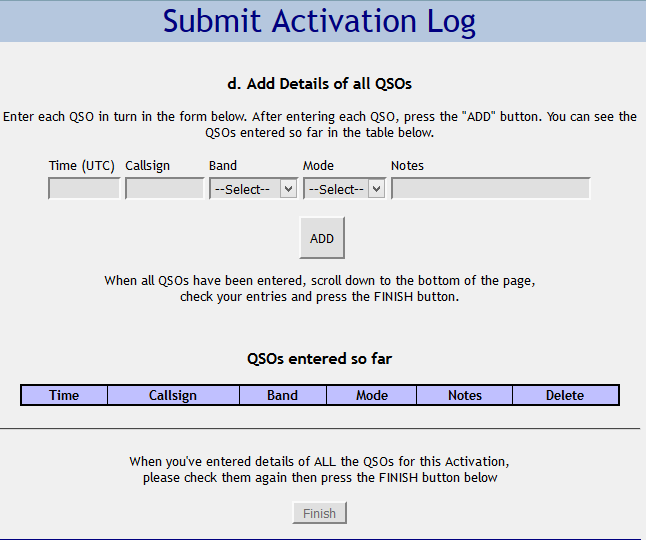 Screen shot of SOTA Submit Activation Log